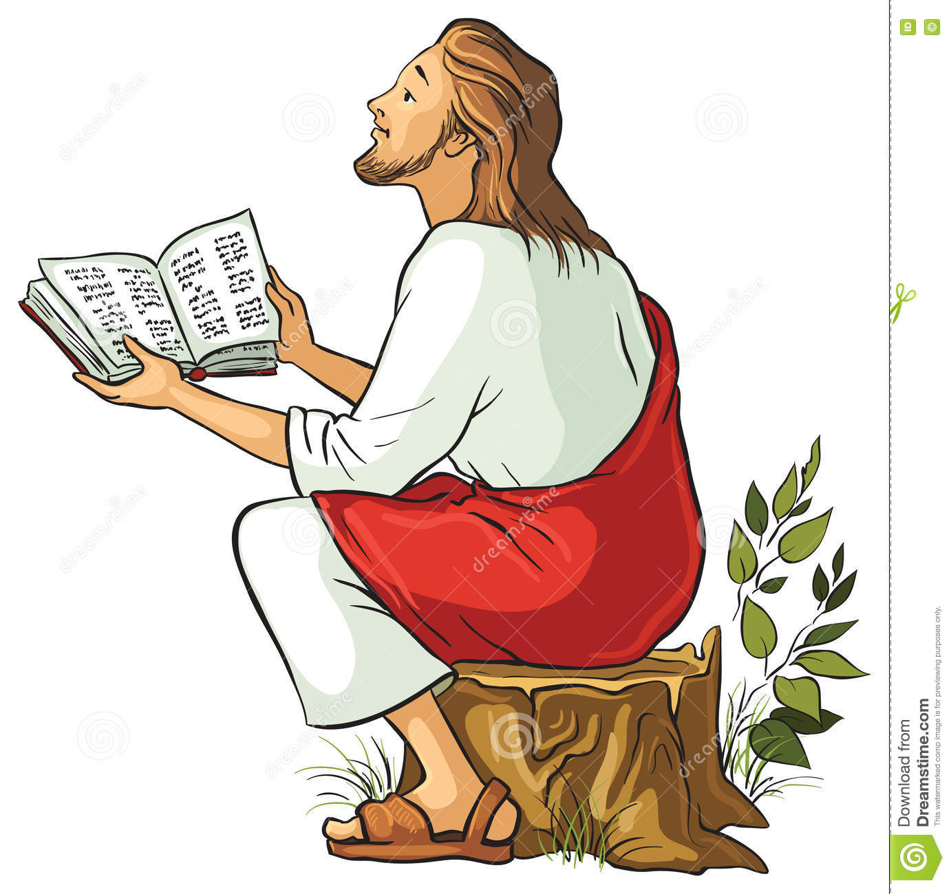 Jesus Reading The Bible To Children And Animals. Coloring Page Stock ...