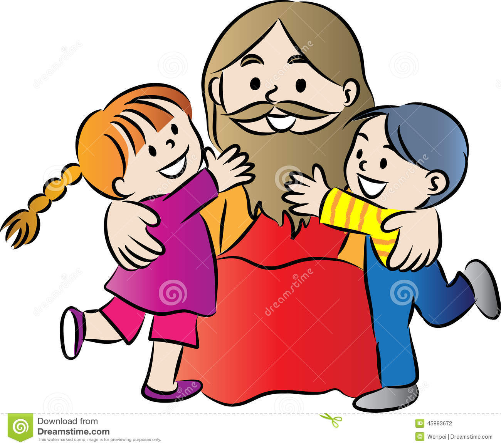 jesus and kids stock illustration image 45893672