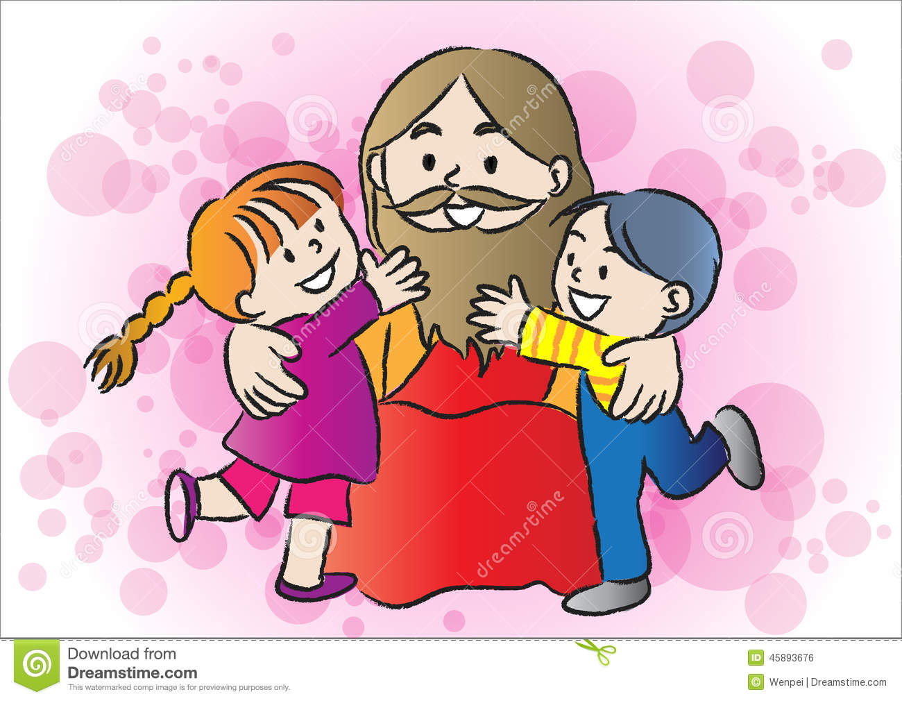 Jesus and kids stock illustration. Illustration of illustration ...