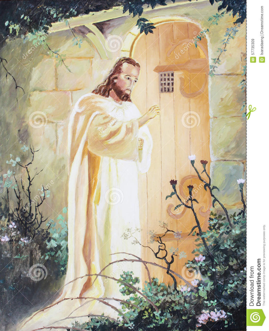 Jesus Knocking At The Door Stock Illustration Image Of