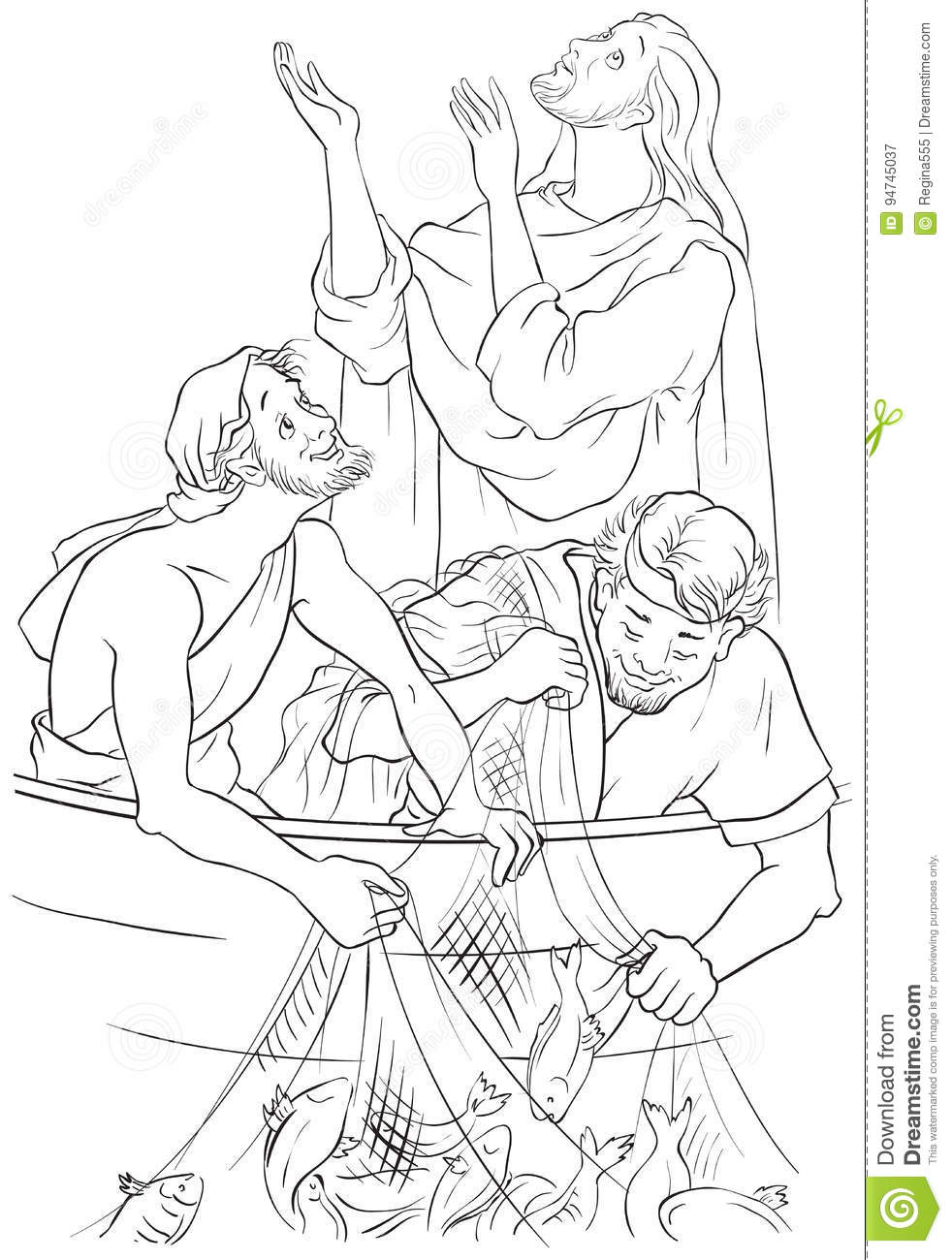 jesus and the miraculous catch of fish coloring page stock vector