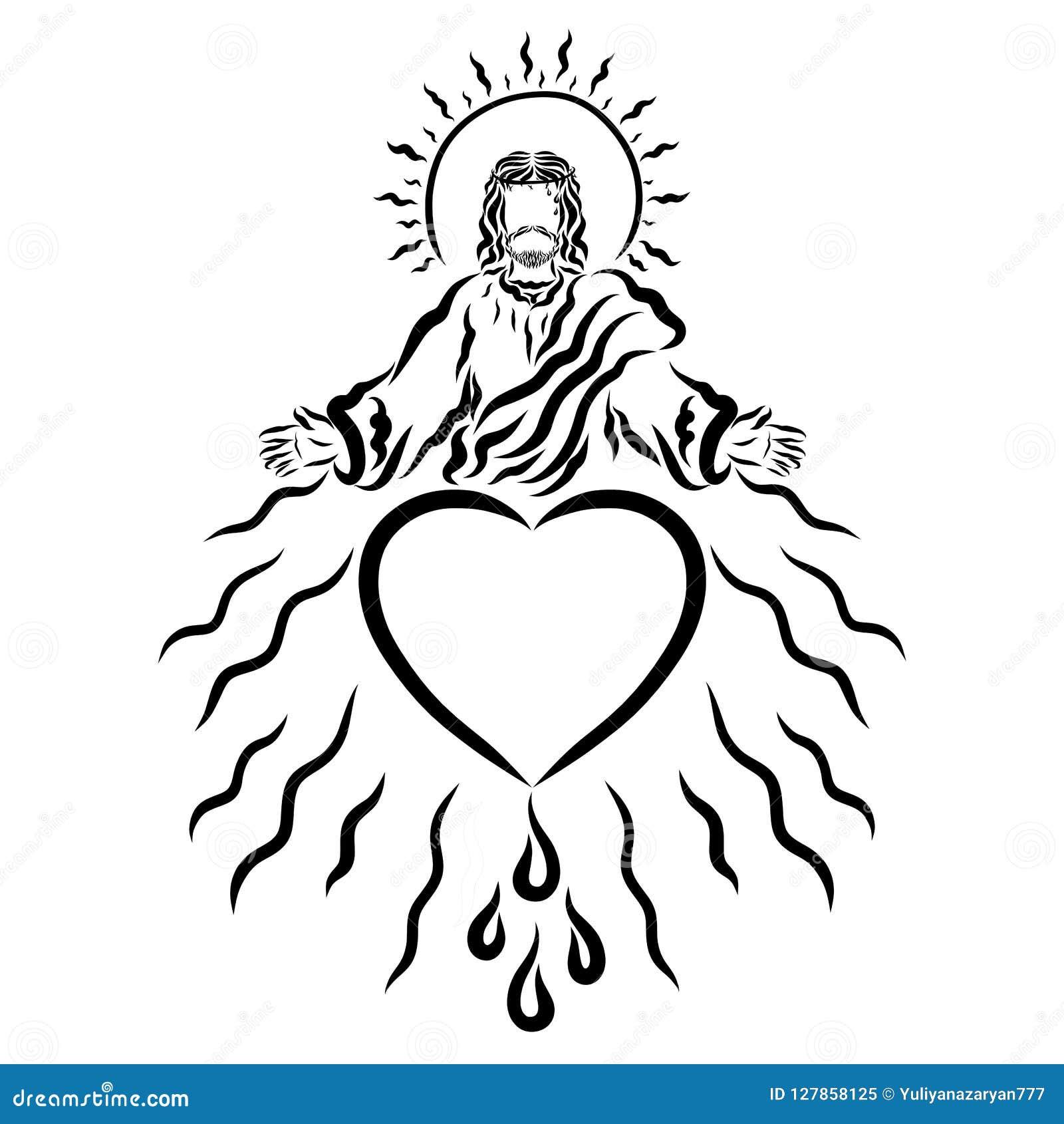 Jesus mit Dornenkrone auf seinem Kopf segnet liebevoll Leute
