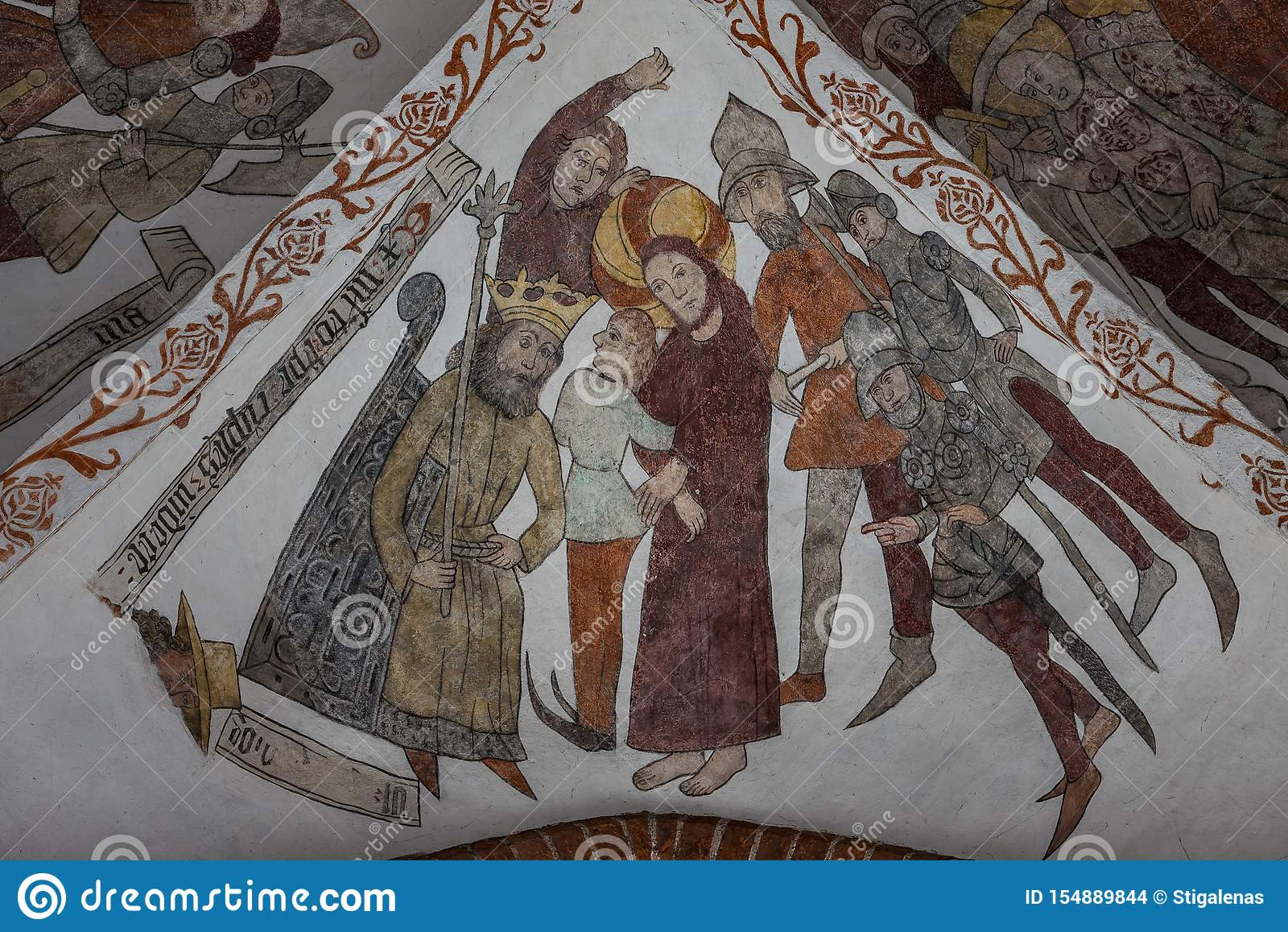 Jesus na corte de Herod, um fresco medieval