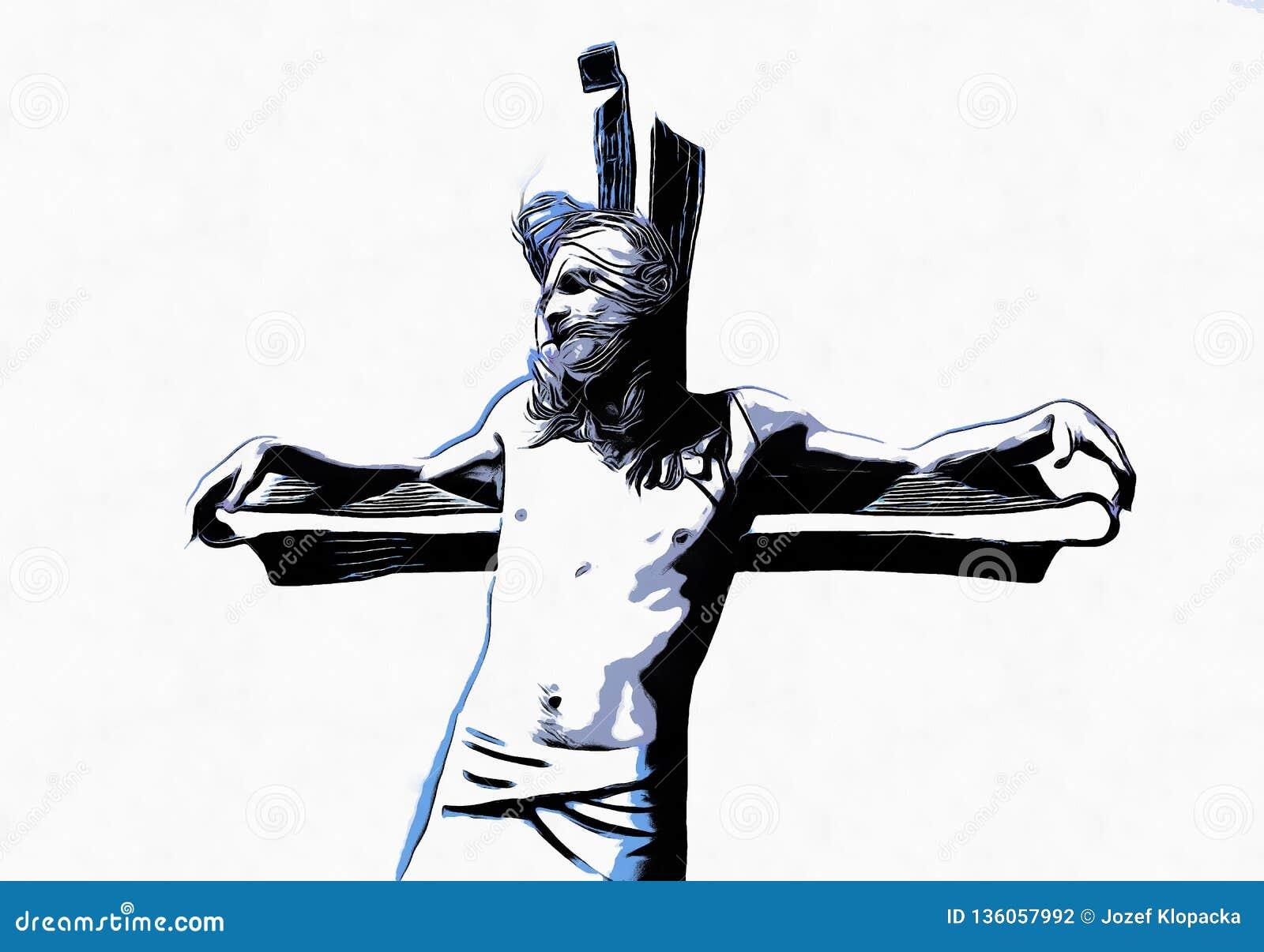 Jesus op het kruis, avanrgard interpretatie met grafische stylization