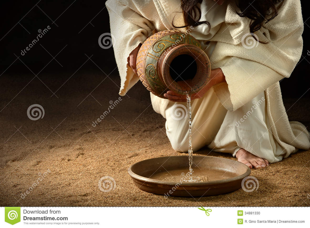Jesus Pouring Water in Pan