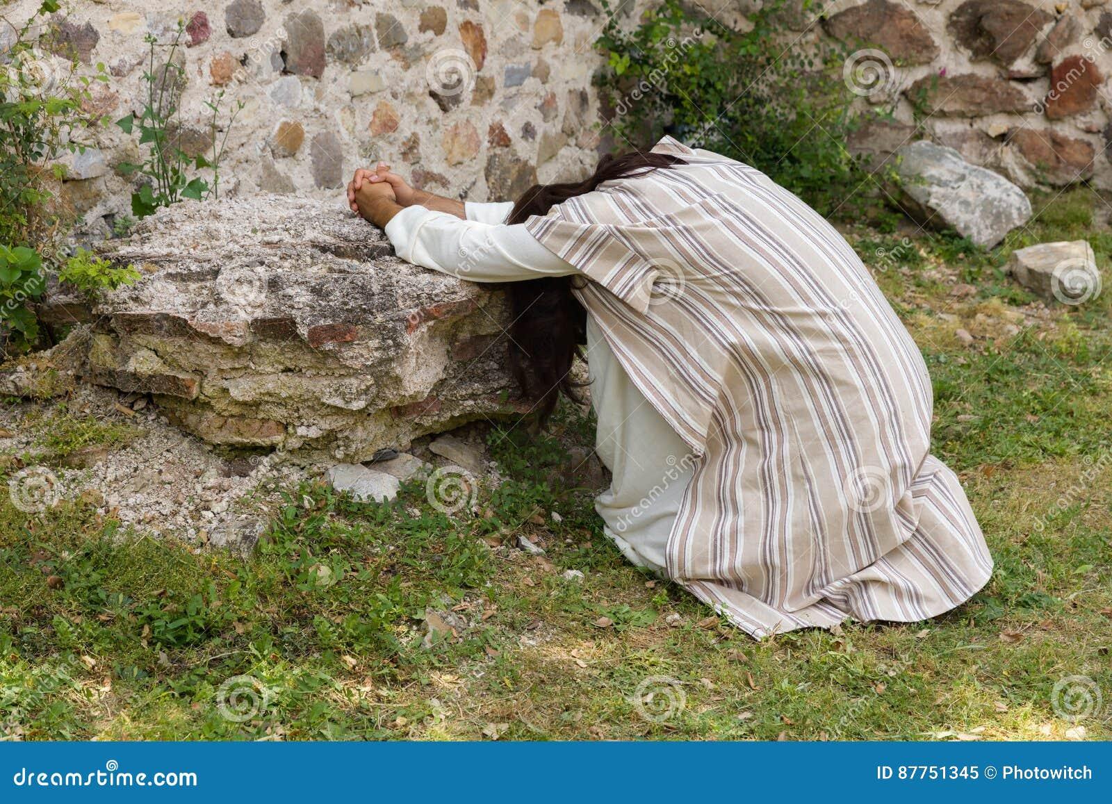 jesus praying on the mount of olives royaltyfree cartoon