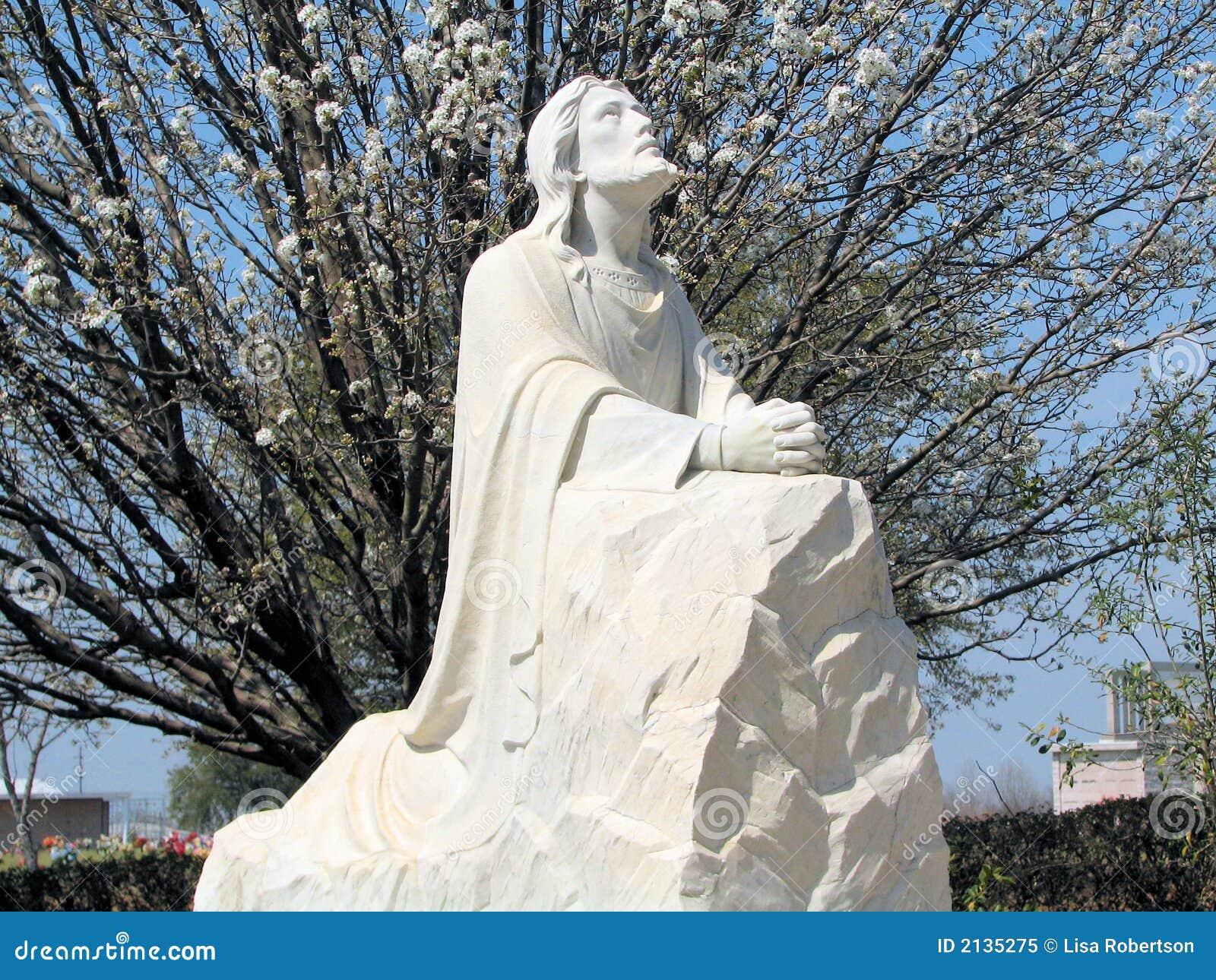 de Jesus, praying no jardim de Gethsemane Tem uma árvore da flor de
