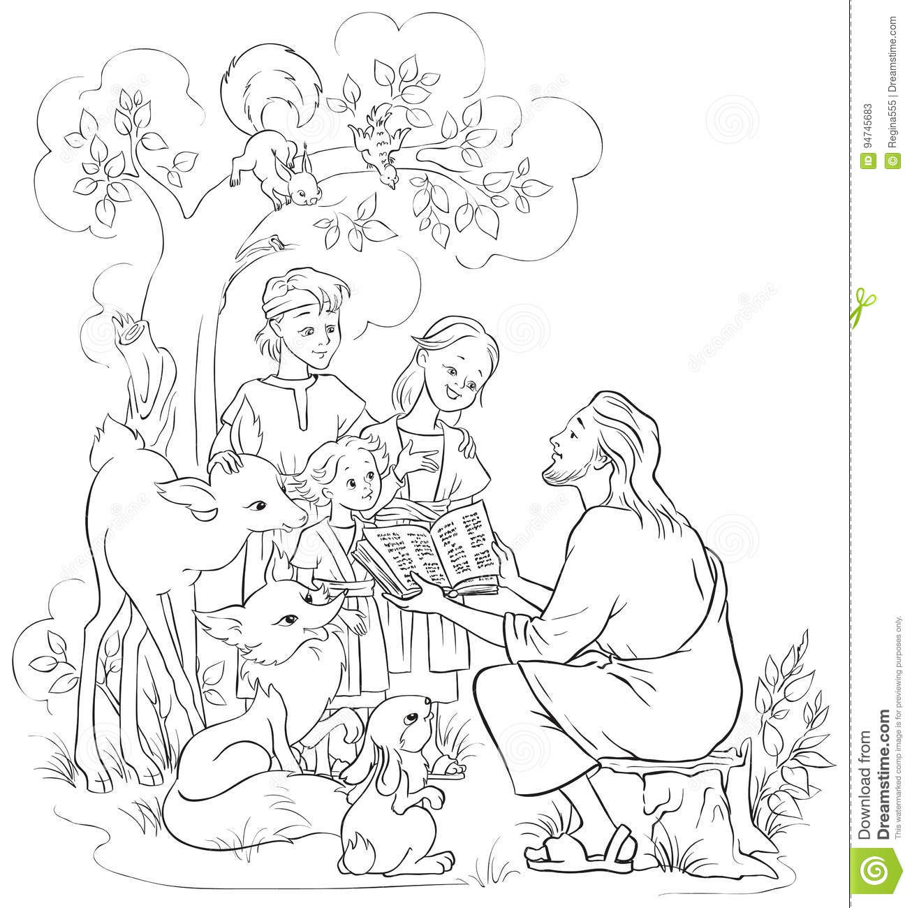 jesus reading the bible to children and animals coloring page
