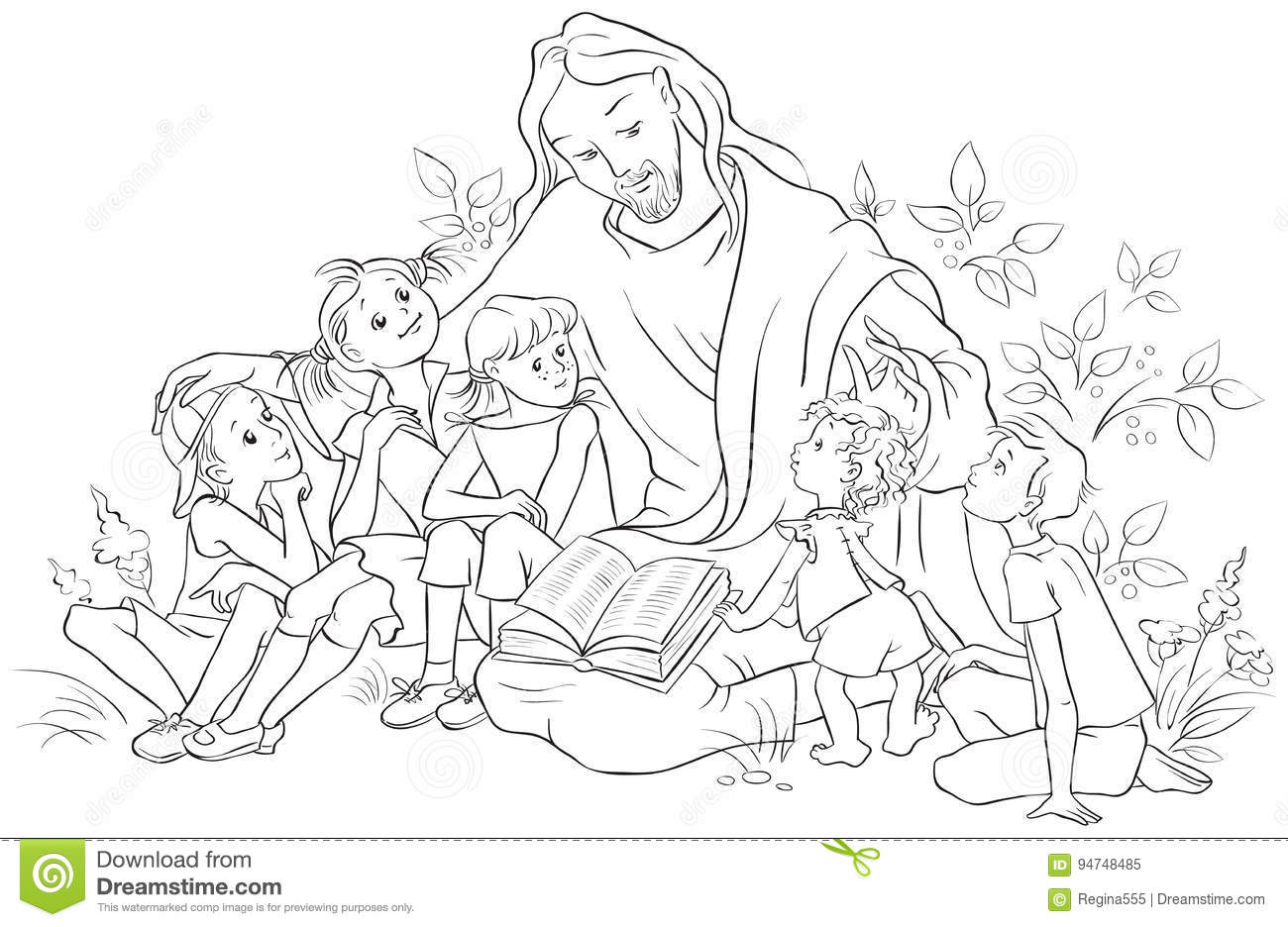 Jesus Reading The Bible To Children Coloring Page Stock