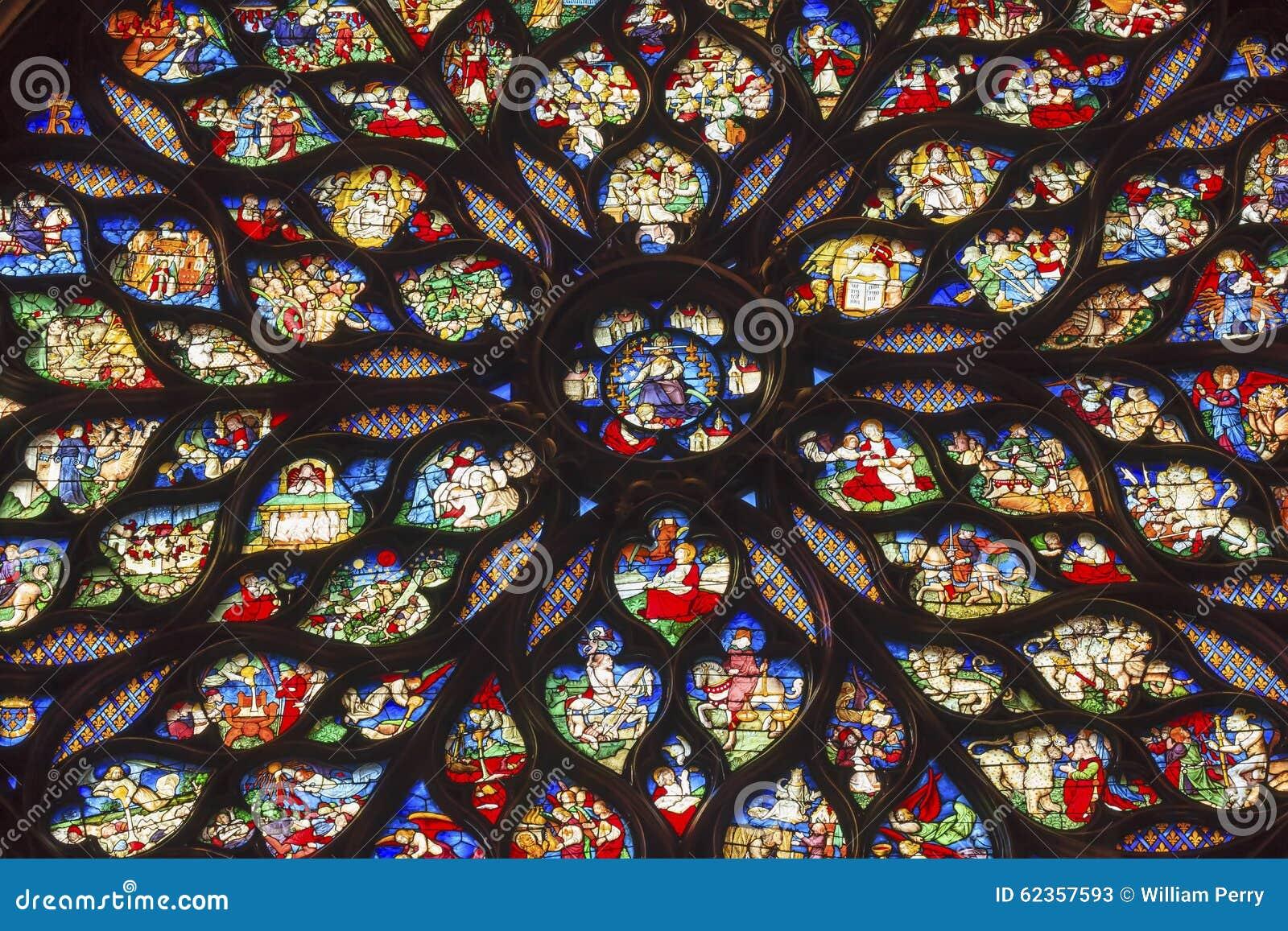 Jesus Rose Window Stained Glass Sainte Chapelle Paris France