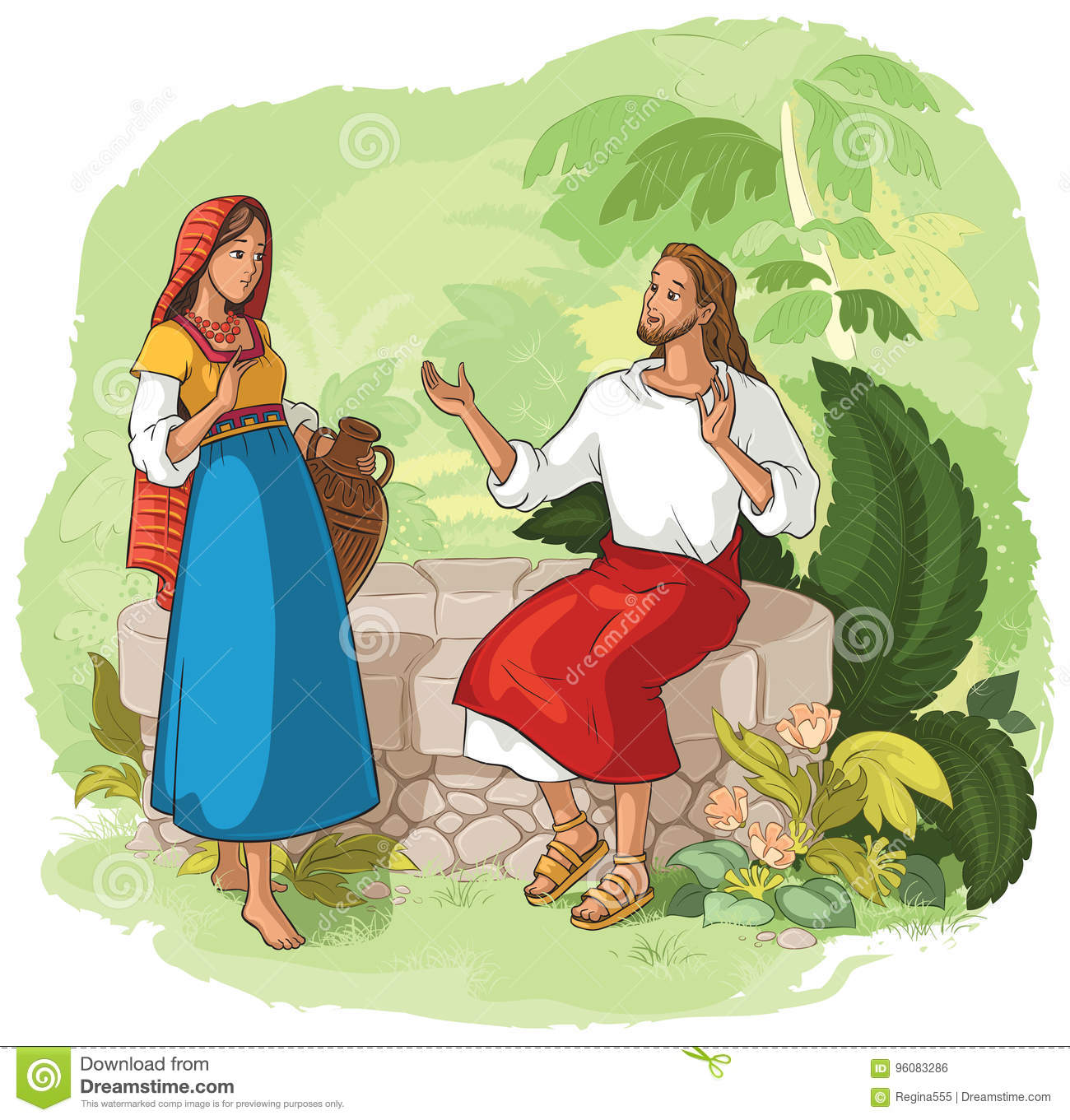 Jesus And The Samaritan Woman At The Well Stock Vector ...