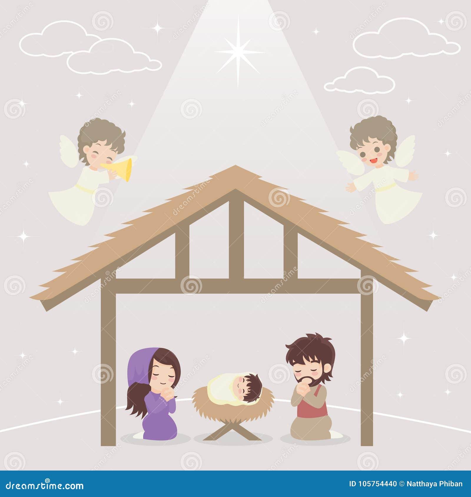 Jesus Story stock vector. Illustration of manger, church - 105754440