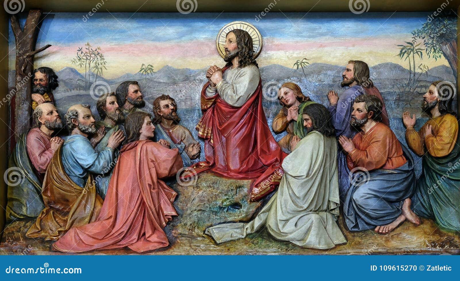 Jesus und Apostel im Ölberg
