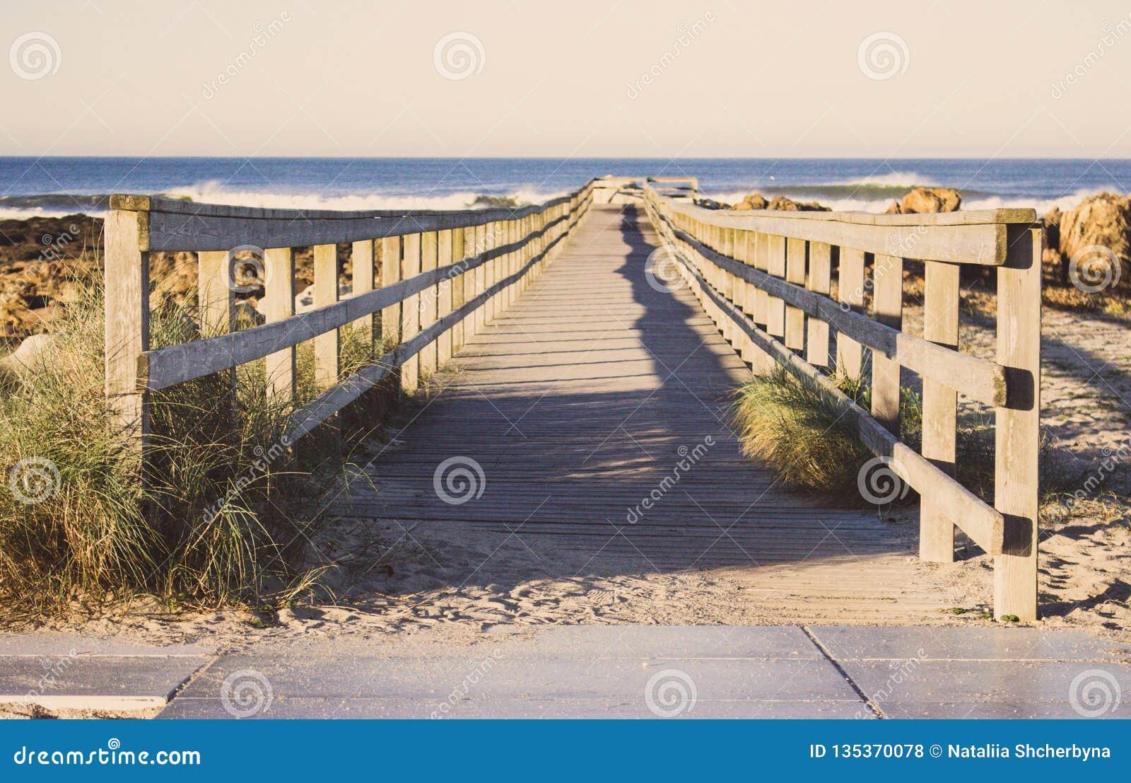 Jetée en bois avec l herbe sur la côte de l Océan Atlantique, Portugal La promenade en bois vers la mer sur des roches étayent Pa