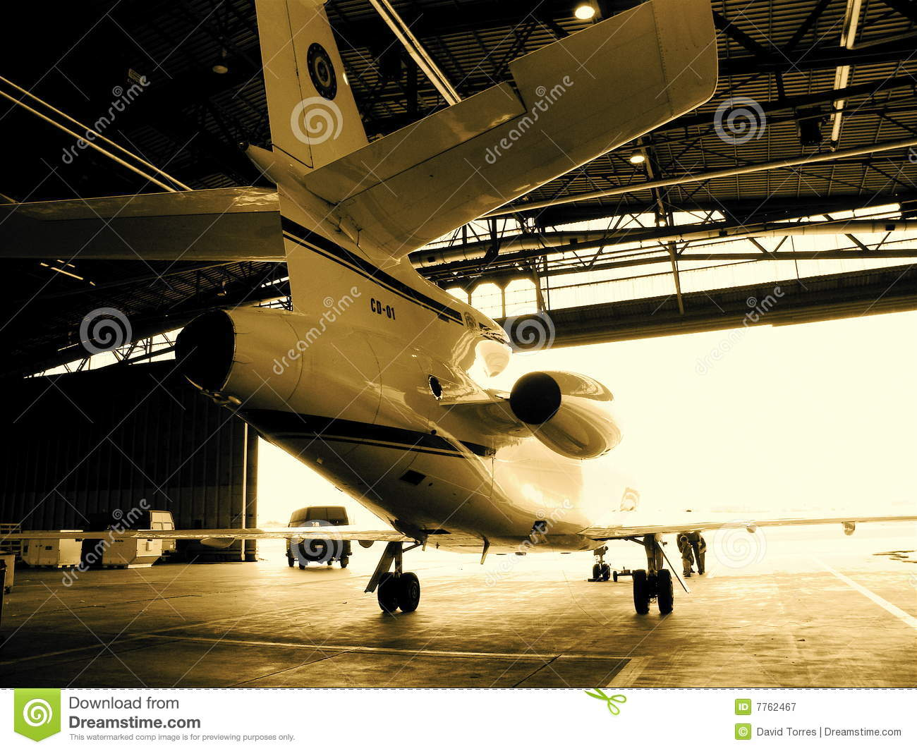 jet airplane in hanger royalty free stock photography image 7762467