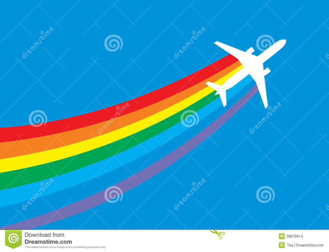 Jet Airplane With Rainbow Trail Stock Vector - Image: 38876614