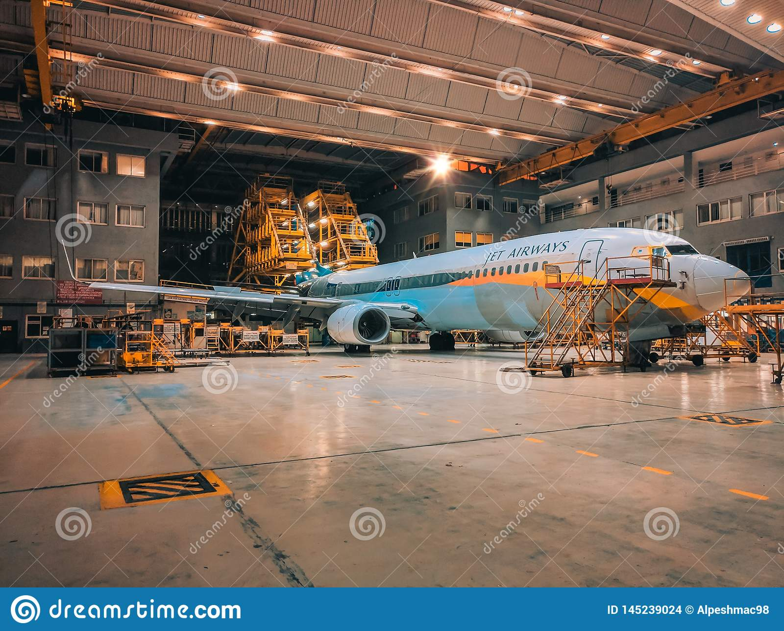 Jet Airways Plane In Hangar