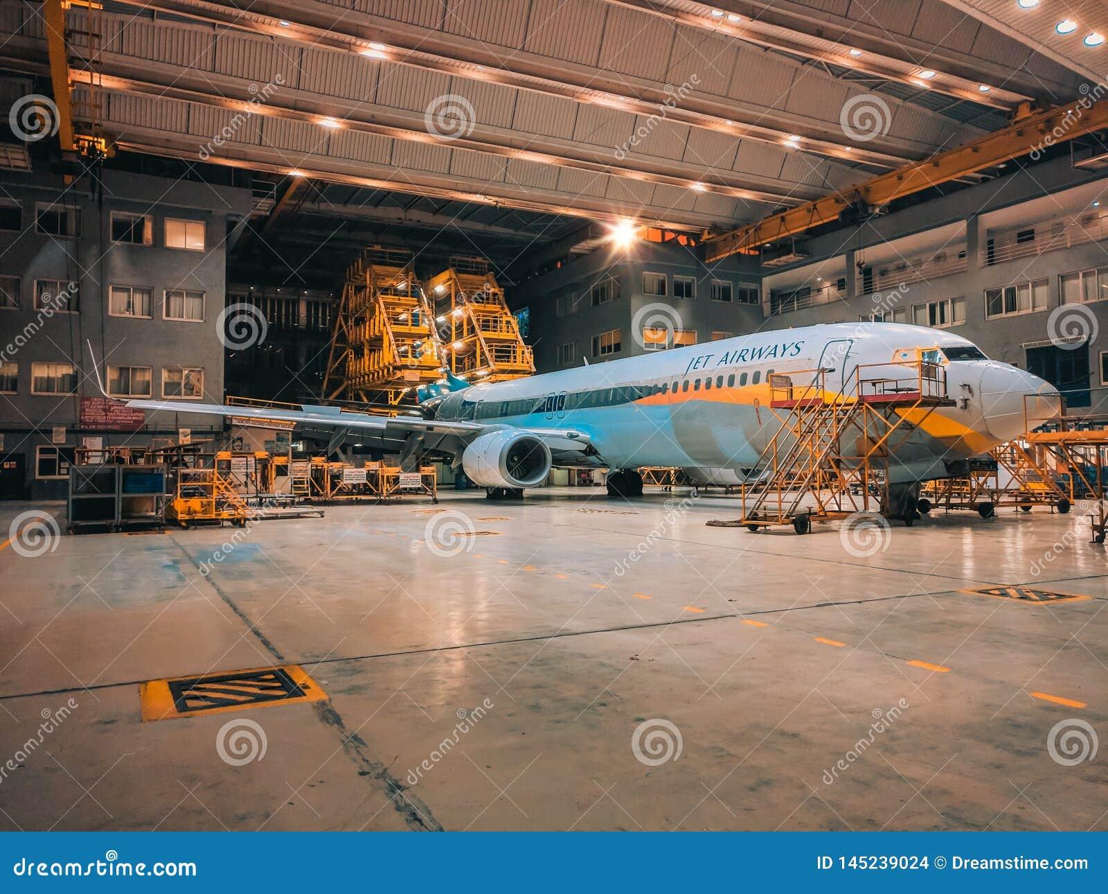 Jet Airways Plane In Hangar