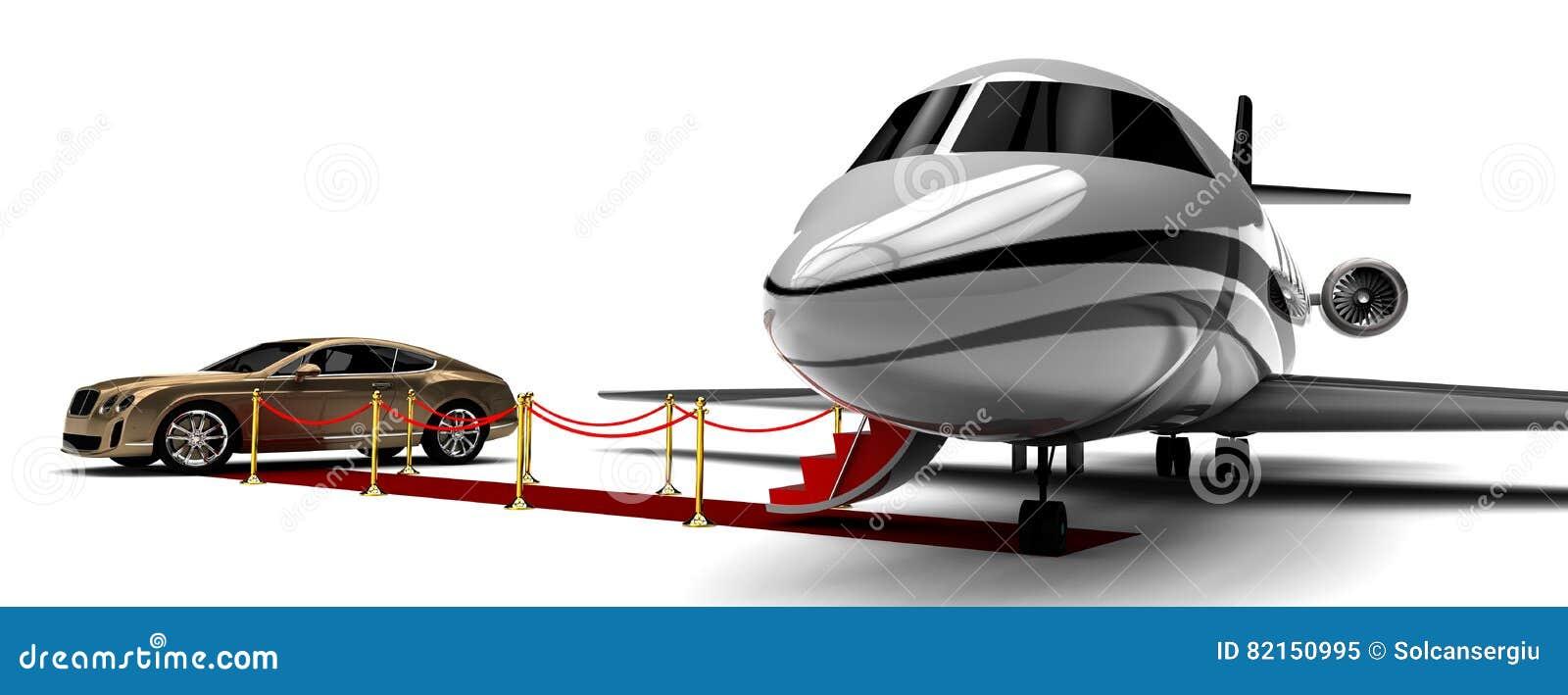 Jet-avion privé et limousine de tapis rouge