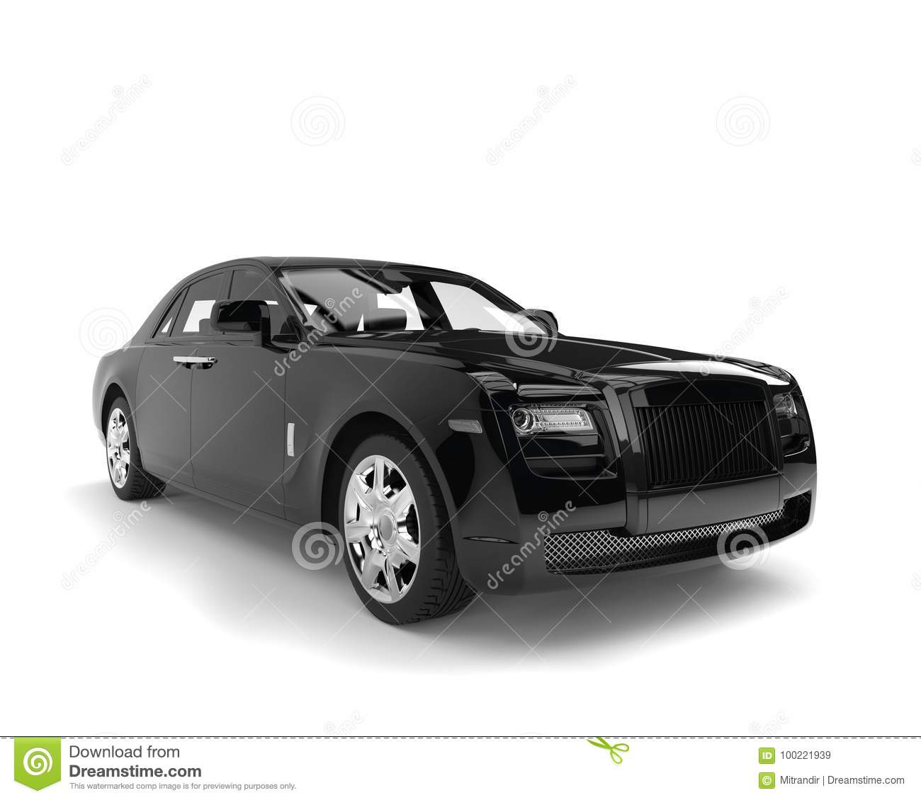 Jet Black Modern Luxury Business Limousine Stock Illustration