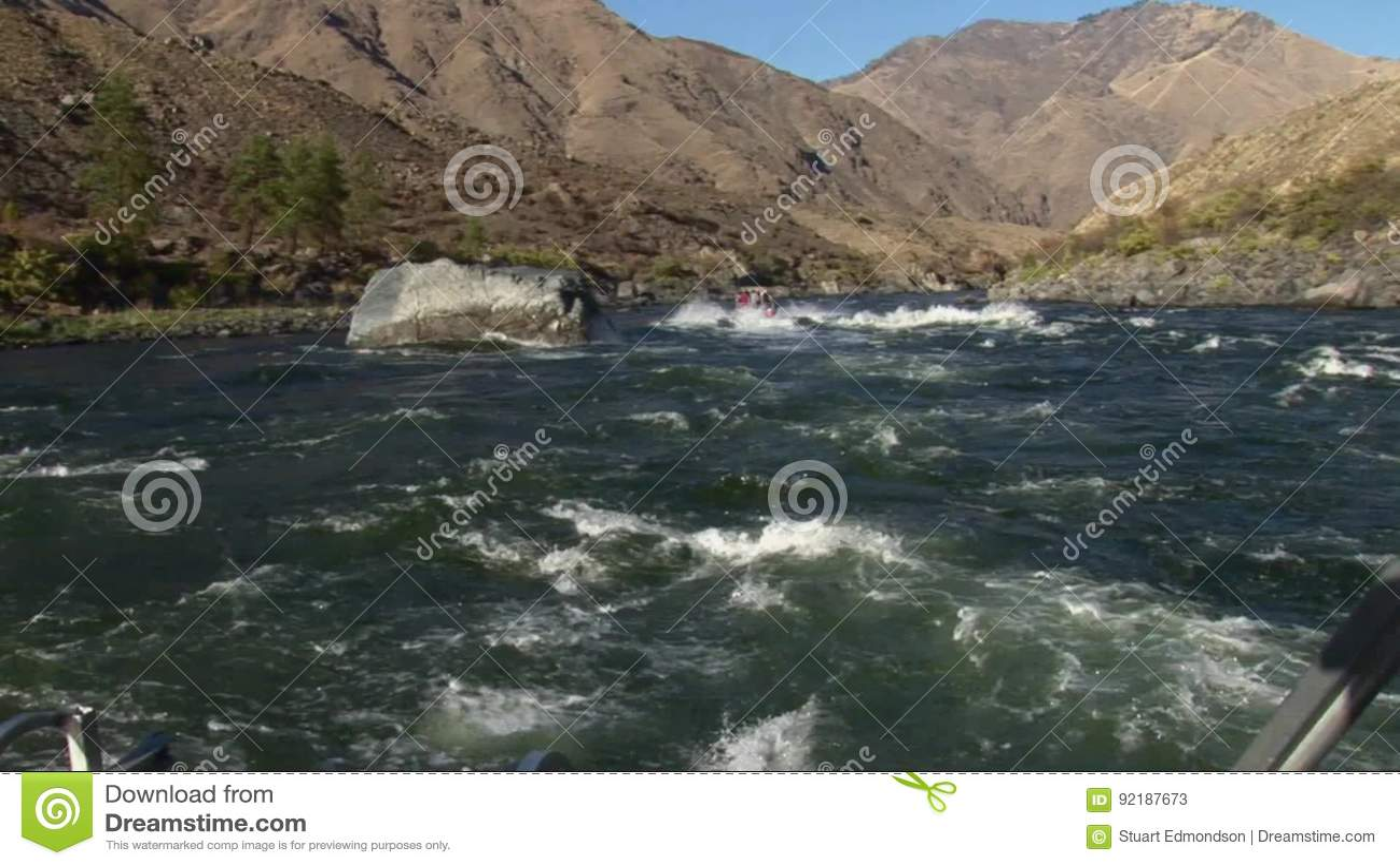 Jet Boat Pov Upriver Snake River Hells Canyon Idaho Stock