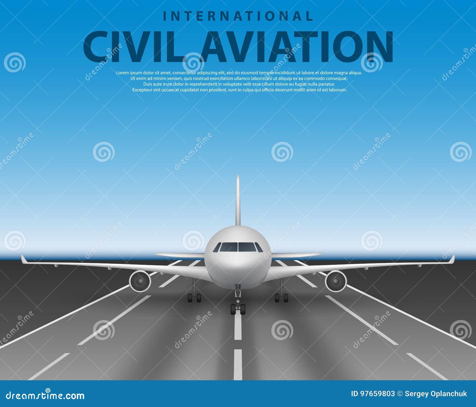 Jet civil d avion de ligne de passager sur la piste Vue de face de concept réaliste commercial d avion Avion en ciel bleu, voyage