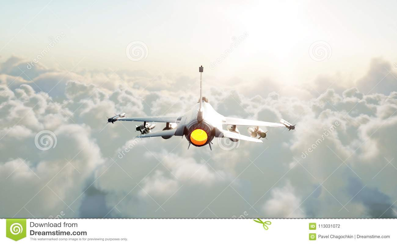 Jet, combatiente que vuela sobre las nubes Concepto de la guerra y del arma representación 3d