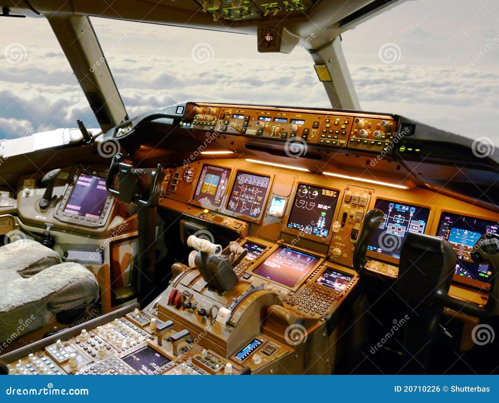 Jet della cabina di guida immagine stock libera da diritti for Una planimetria della cabina del telaio