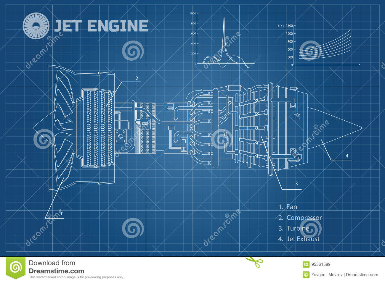 Jet engine in a outline style. Industrial vector blueprint. Part of the  aircraft.