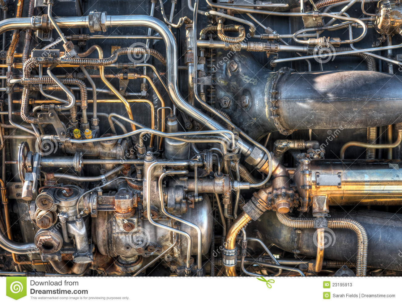 The pipes and mechanical systems of an aircraft jet engine. Would make ...