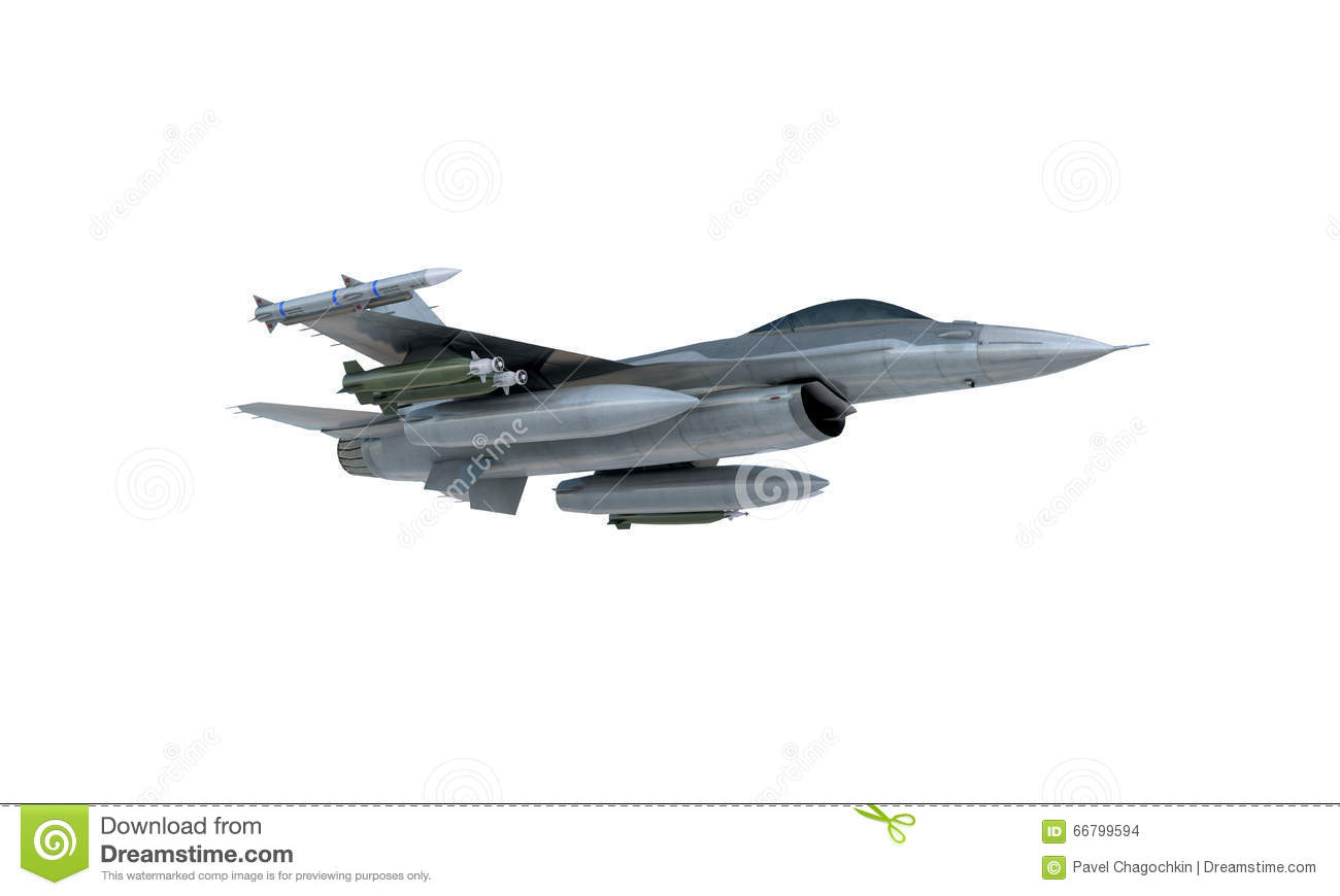 Download Jet F-16 Isolate On White Background. American Military Fighter Plane. USA Army Stock Photo - Image of airplane, show: 66799594