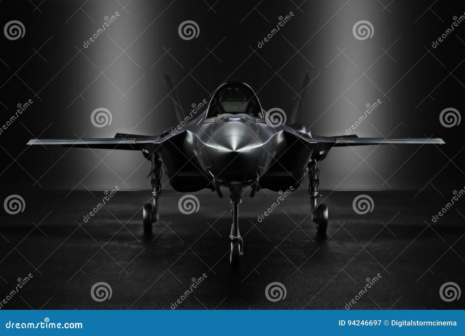 Jet F35 secret avancé dans un lieu confidentiel avec l éclairage de silhouette