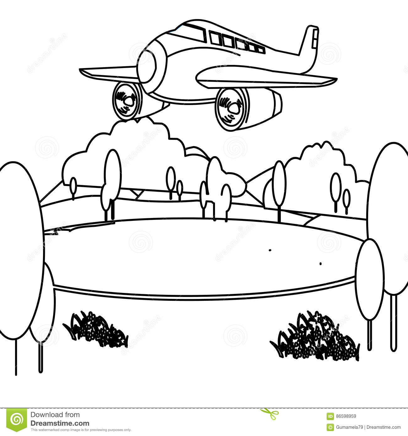 Jet plane coloring page stock illustration. Illustration of cute ...