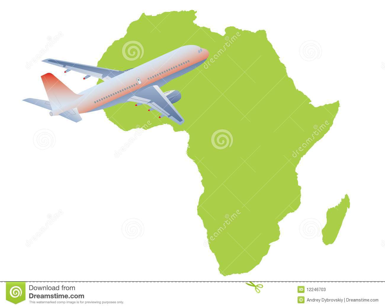 Jet Plane Flying Up With Africa Map Stock Vector   Illustration of