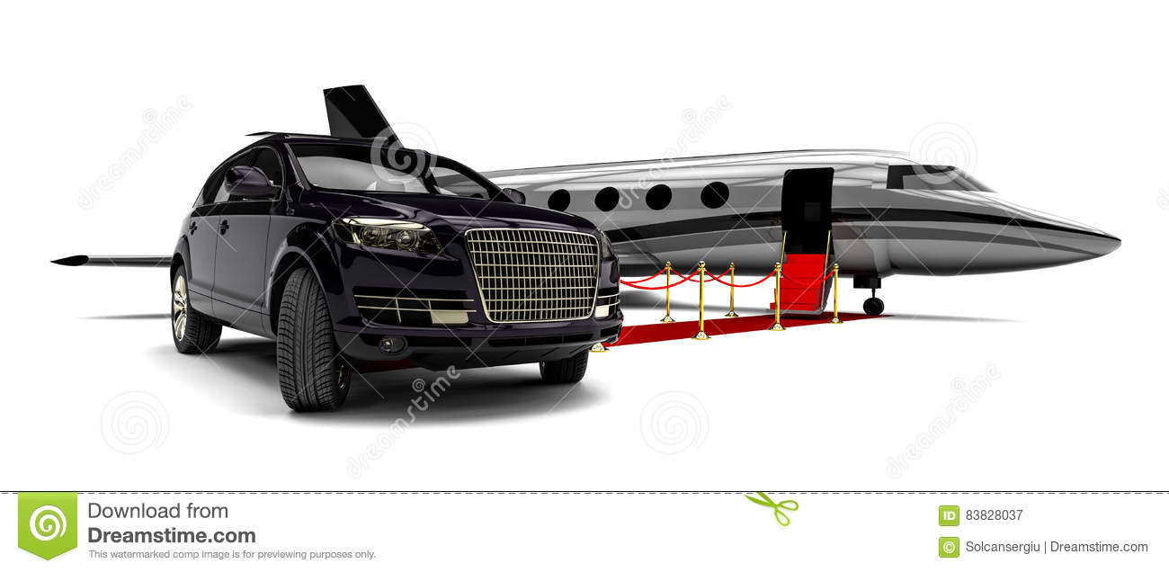 Jet Plane With A Luxury Suv And A Red Carpet Stock Illustration