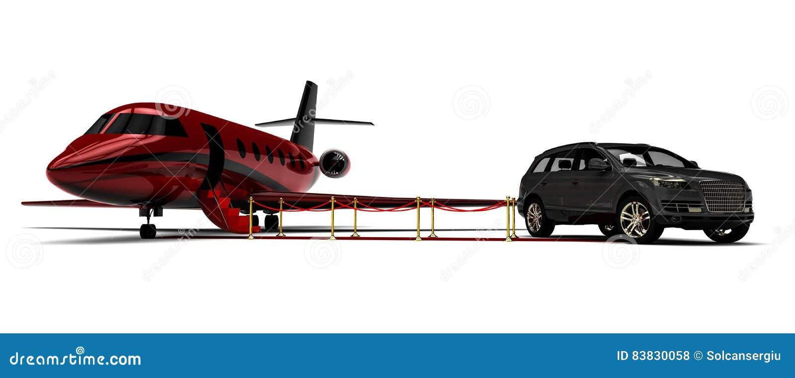 Jet privé avec une limousine de SUV