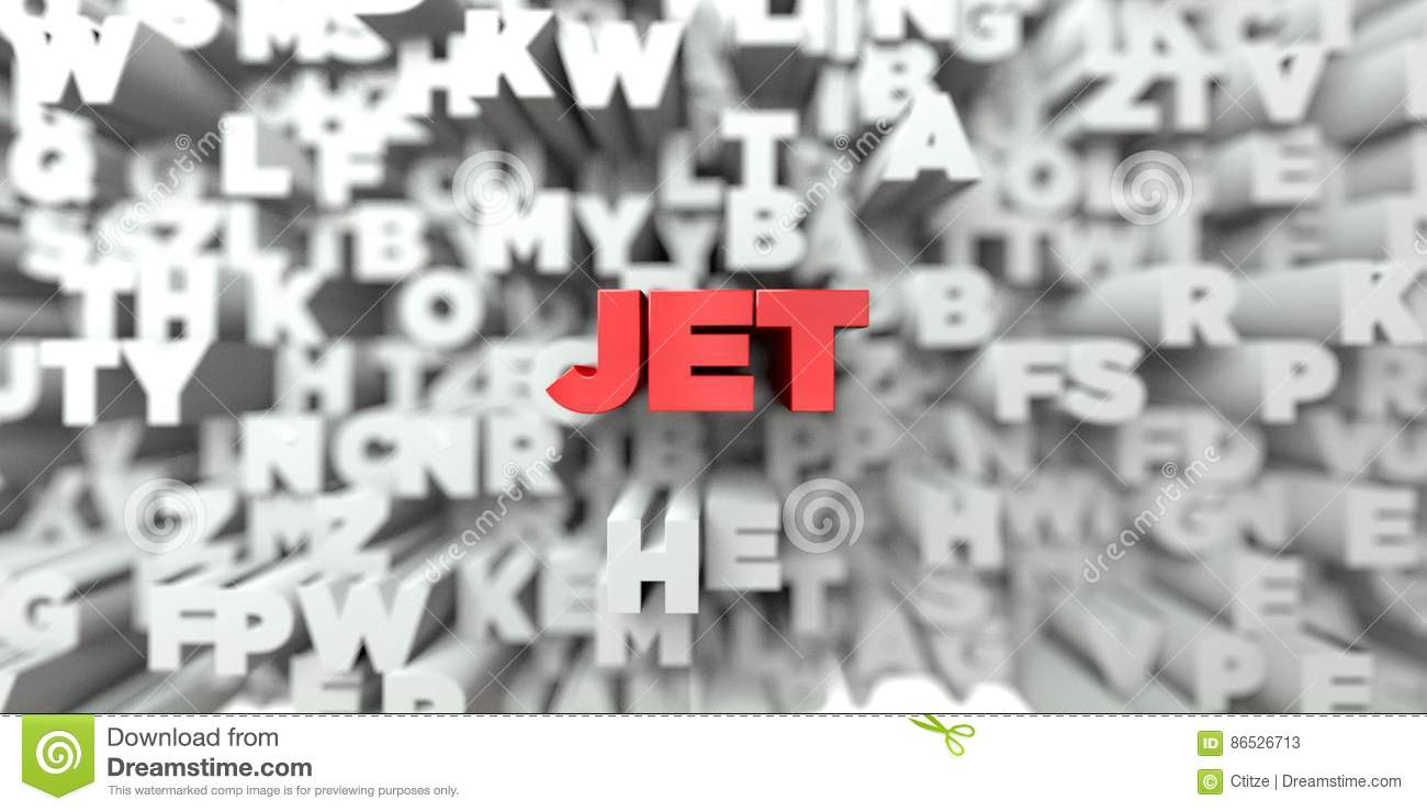 JET - Red text on typography background - 3D rendered royalty free stock image