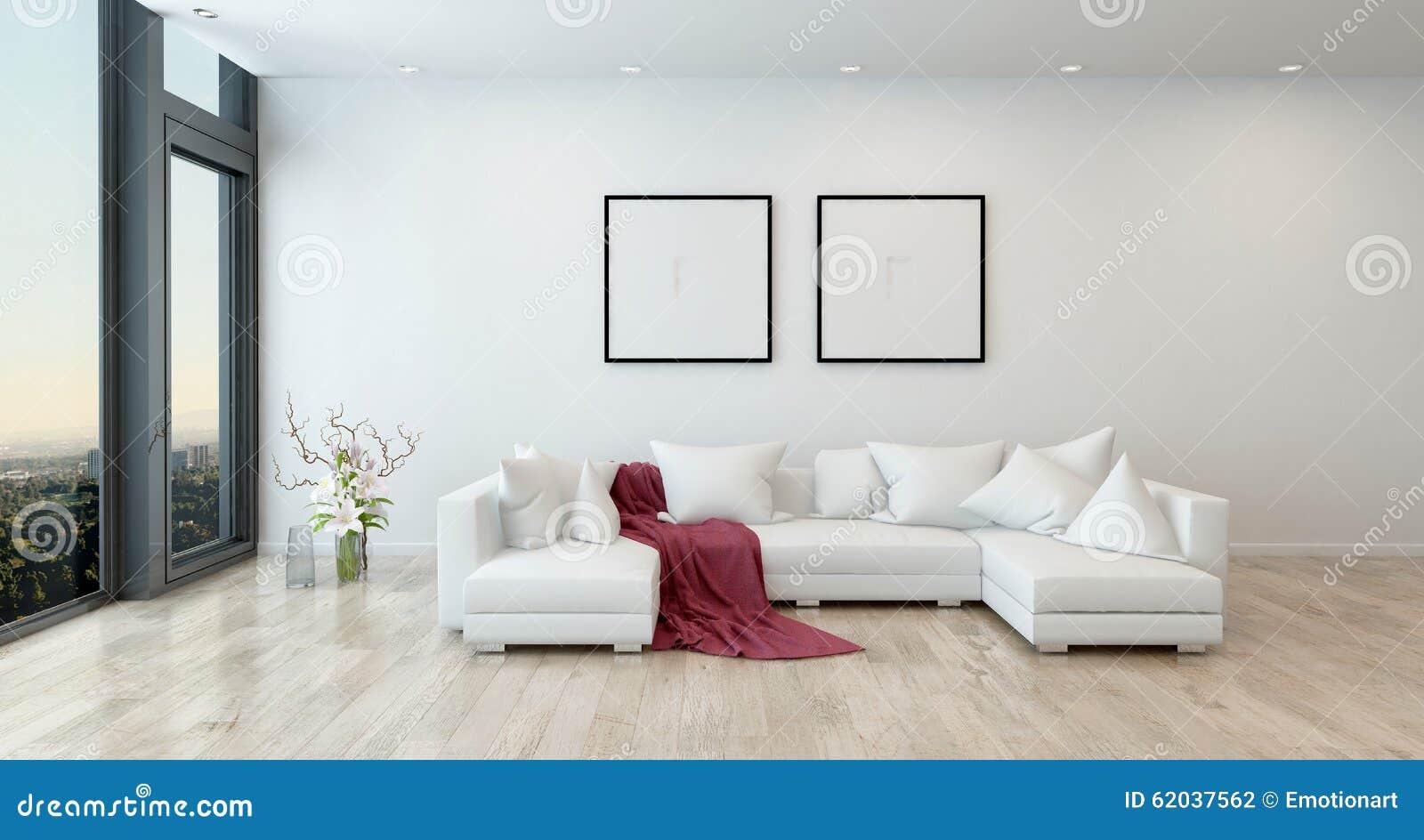 Jet rouge sur le sofa blanc dans le salon moderne
