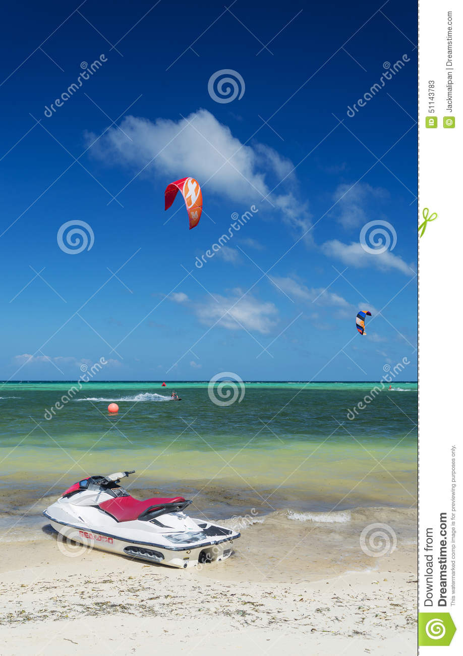 Jet Ski And Kite Surf In Bolabog Beach Boracay Philippines