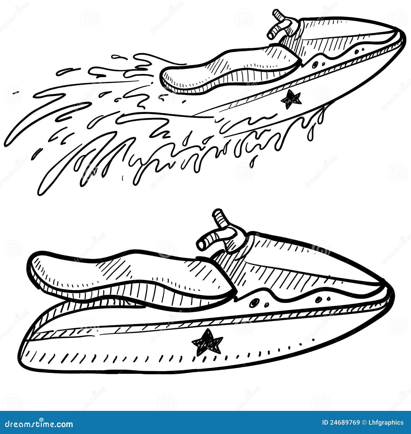 Jet ski vector sketch royalty free stock images image 24689769 - Jet ski dessin ...