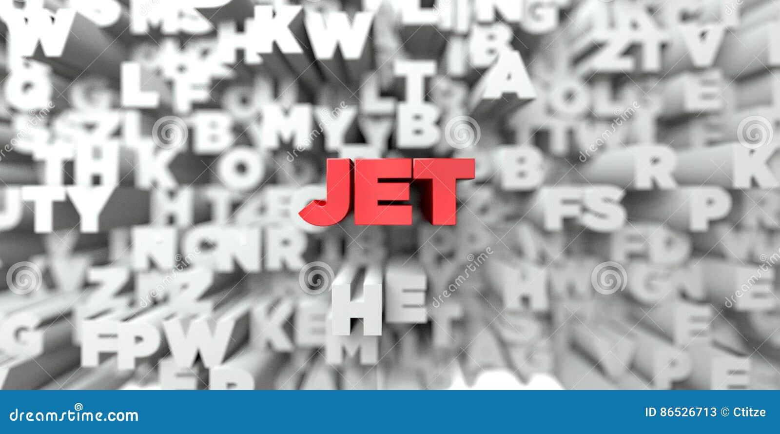 JET - Texte rouge sur le fond de typographie - 3D a rendu l image courante gratuite de redevance