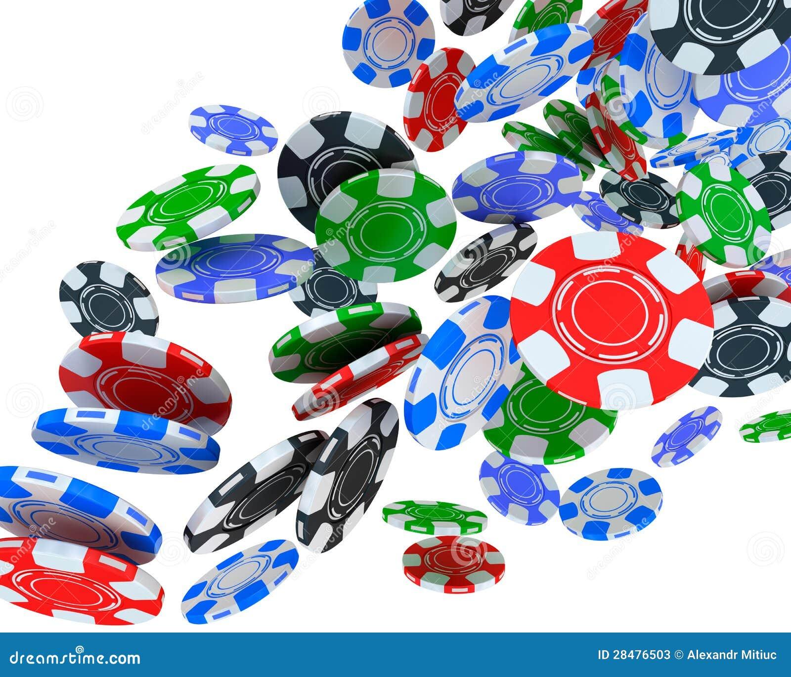 Jetons De Poker Tombant Sur Le Fond Blanc. Illustration