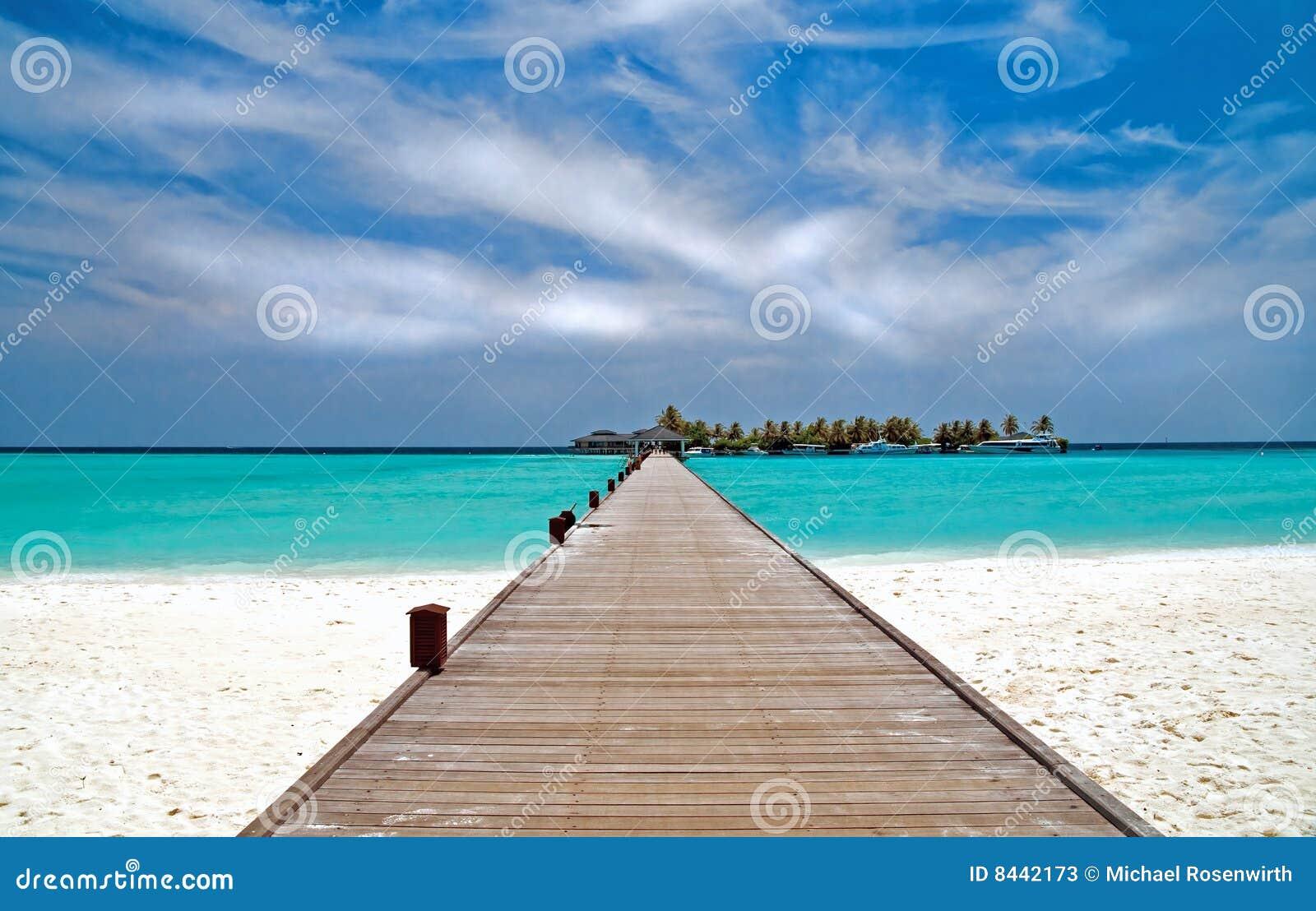 Jetty on a tropical beach