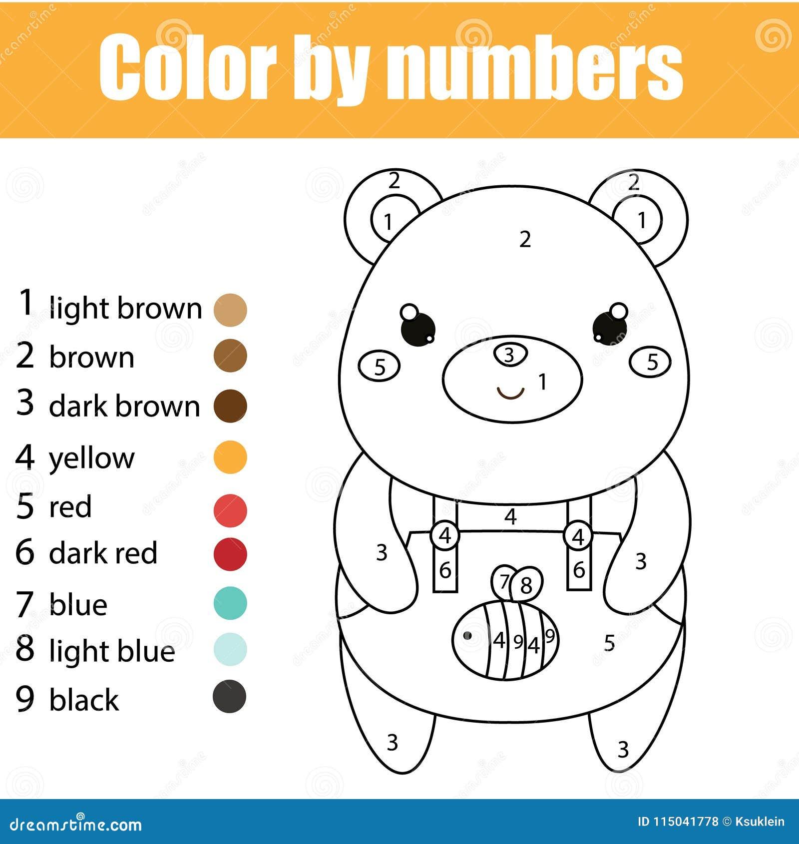 Jeu éducatif d enfants Page de coloration avec l ours mignon Couleur par des nombres, activité imprimable