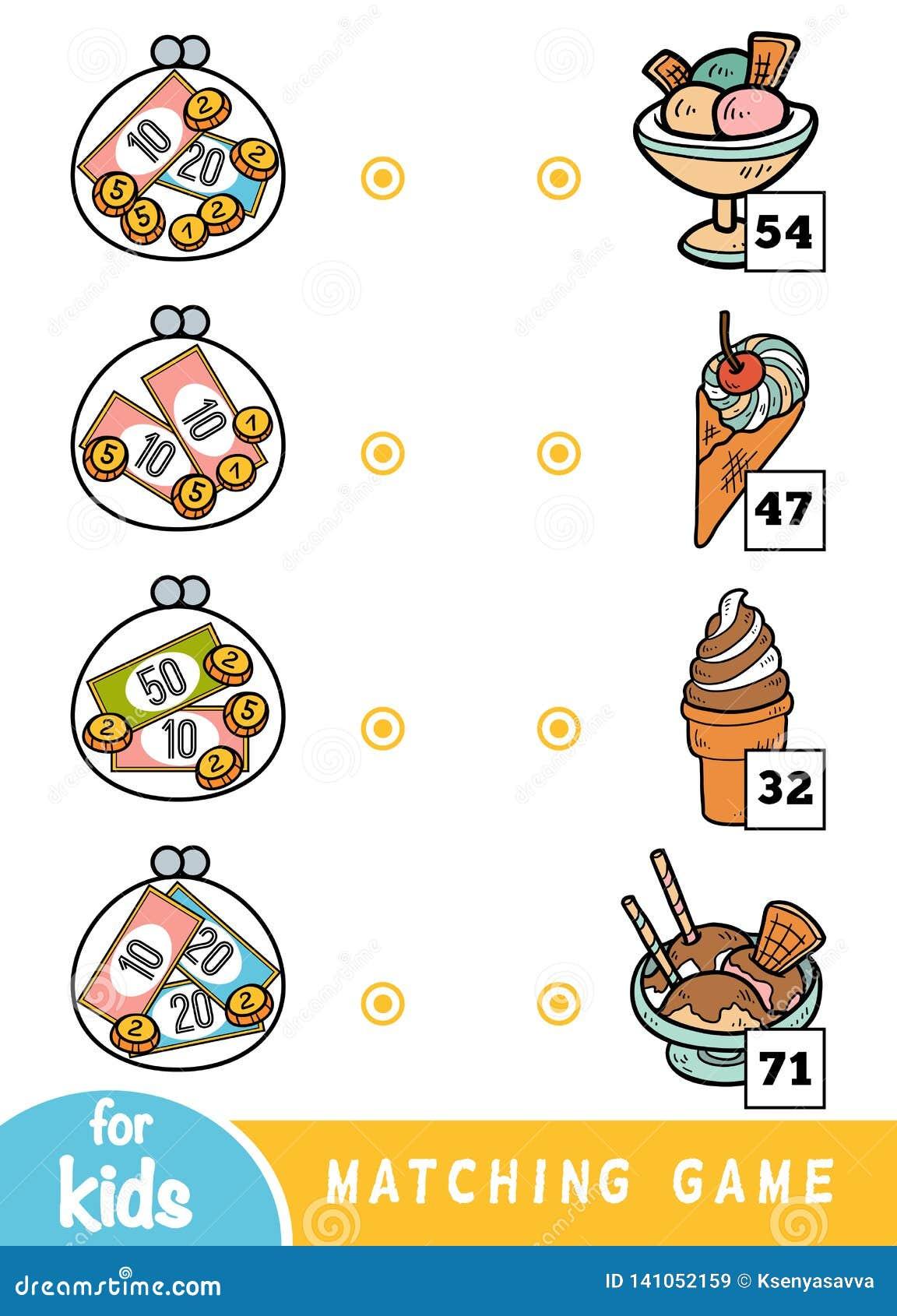 Jeu d assortiment pour des enfants Comptez combien l argent est dans chaque portefeuille et choisissez le prix correct La crème g