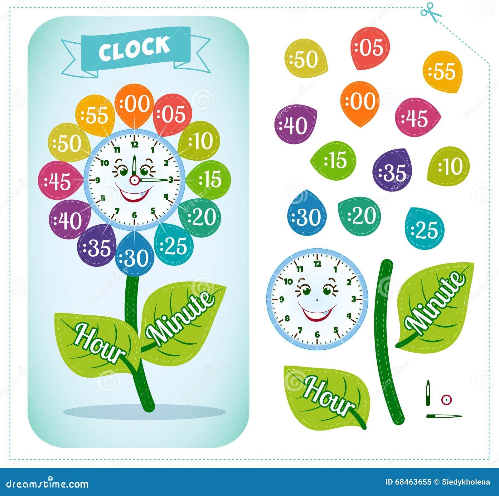Jeu d autocollant d horloge pour des enfants