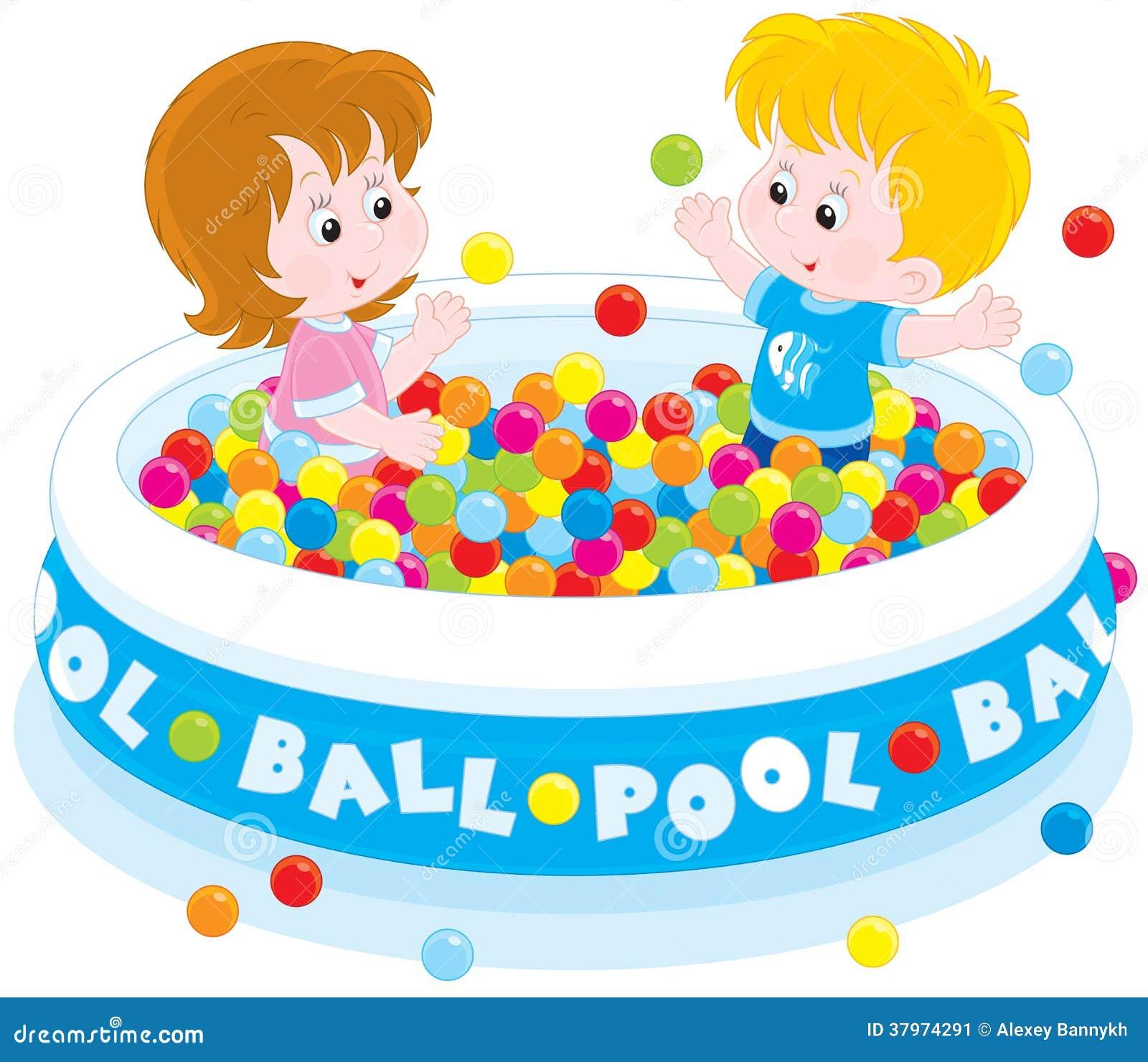 Jeu d 39 enfants dans une piscine de boule illustration de for Piscine de boule