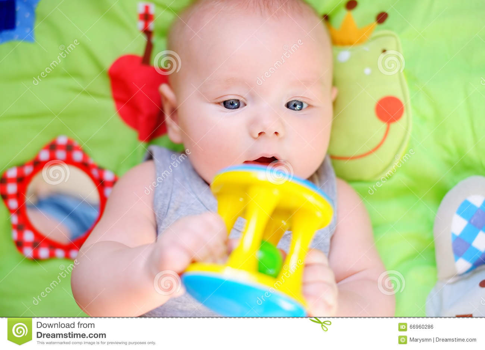10, jouet, vieux, coloré, mois, bébé, portrait, tour, jouer