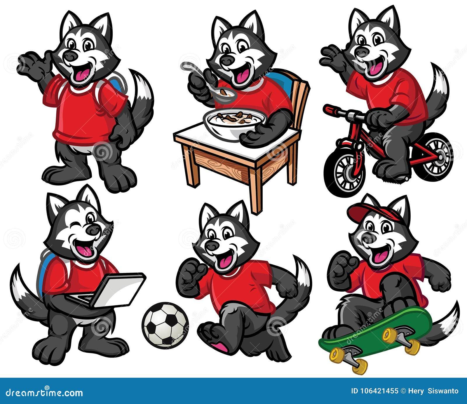 Jeu de caractères de bande dessinée de petit chien mignon de chien de traîneau sibérien