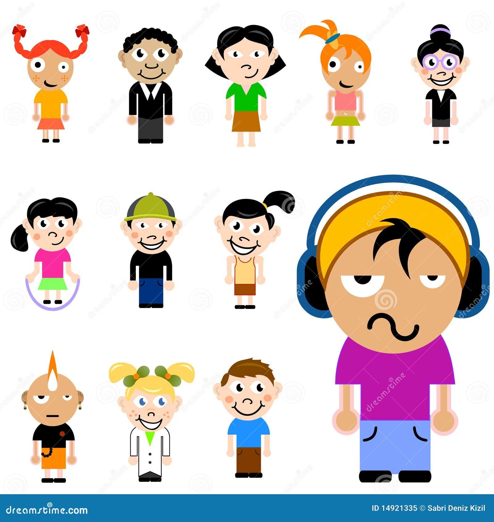 Dessin Anim 9 Ans: Jeu De Caractères D'enfants De Dessin Animé Illustration